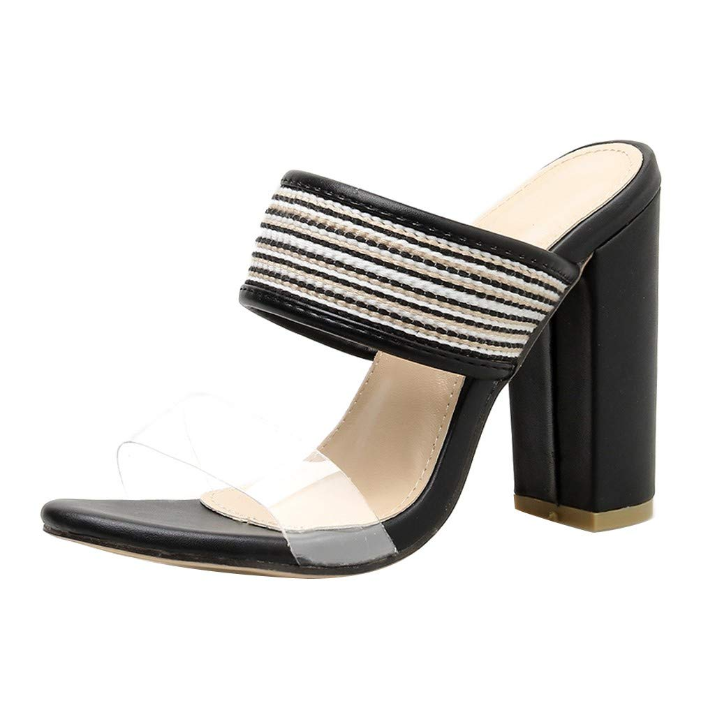Claystyle Women Thick Heel Slippers,Flip Flop Hollow High-Heeled Shoes Party Sandals Open Toe (Black,US=6)