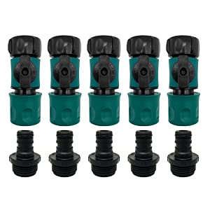 "Plastic Garden Hose Quick Connect with Shutoff Set Male and Female, 3/4"" Quick Connectors with Valve for Water Hose Coupling, Quick Release Kit Hose Fittings and Adapters (5 Sets/ 10 Pc)"