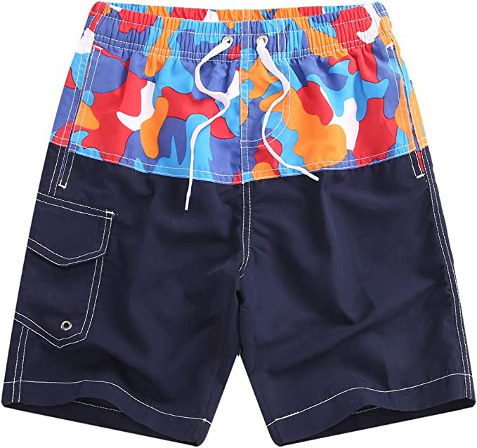 QRANSS Boys Kids Shark Printed Swim Trunks Board Shorts with Pockets