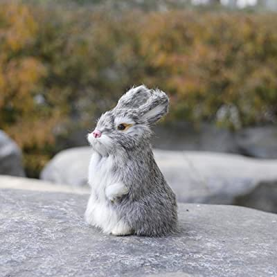 BSWL Simulation Rabbits, Fur Animal Models, Handicrafts, Photography Props, Creative Christmas Birthday Gifts, Home Decoration,Gray: Sports & Outdoors