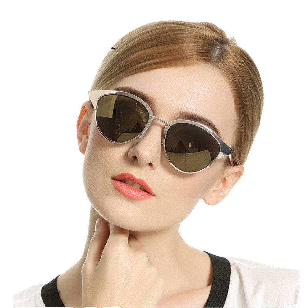 VIVIENFANG Full Metal Frame Mirrored Lenses Vintage Women's Polarized Cat Eye Sunglasses Q002