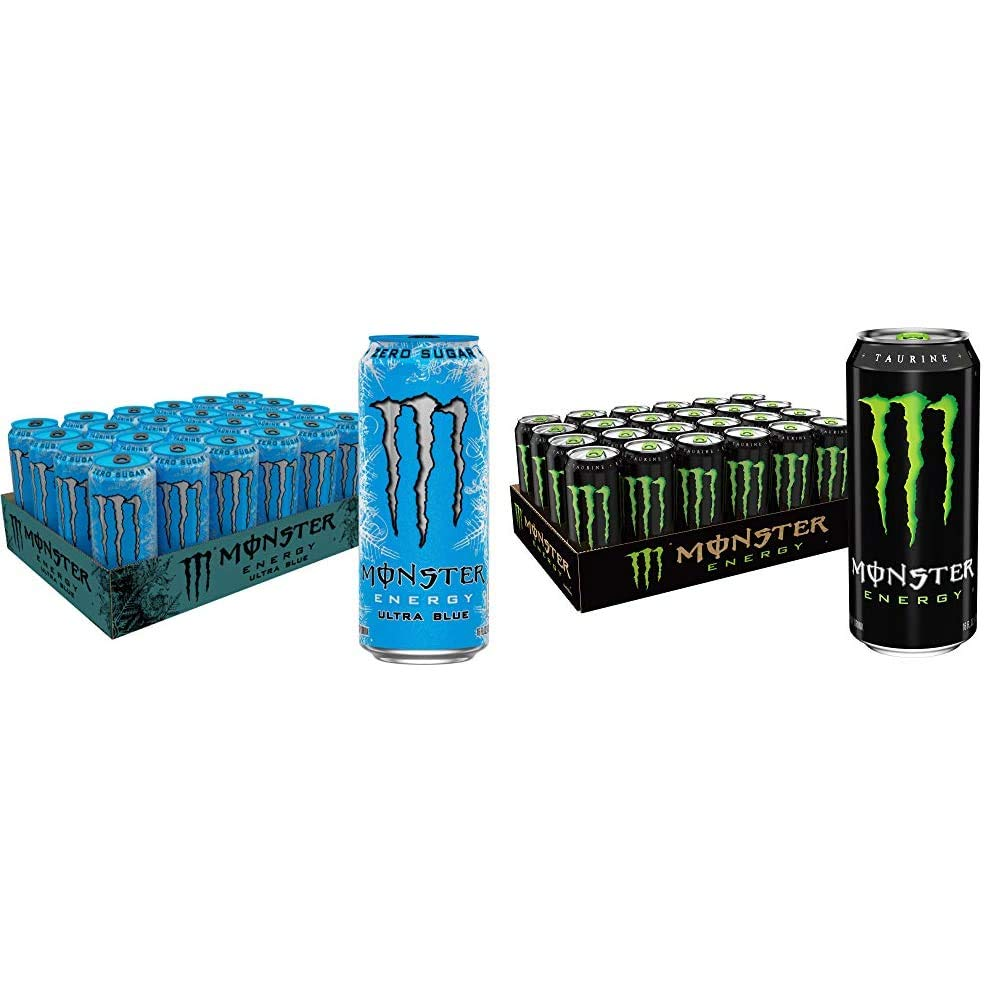 Monster Energy Ultra Blue, Sugar Free Energy Drink, 16 Ounce (Pack of 24) & Drink, Green, Original, 16 Ounce (Pack of 24)
