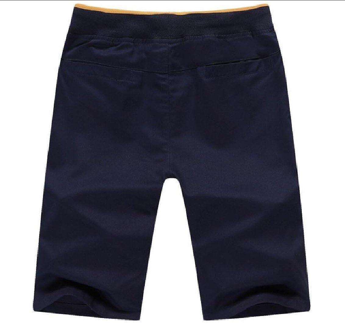 Qiangjinjiu Mens Shorts Elasticity Drawstring Splice Casual Slant Pockets Boxers