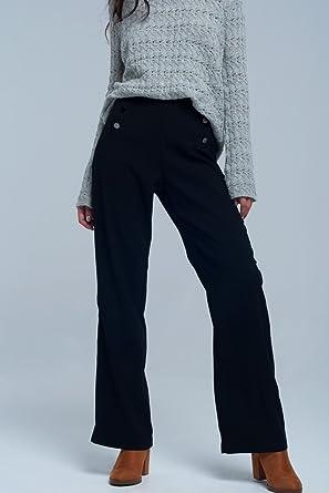 Q2 Femme Pantalon Noir Style Marin - S -