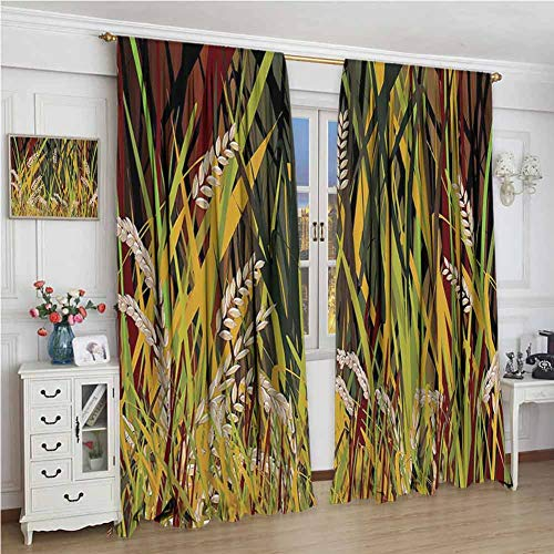 GUUVOR Nature All Season Insulation Reeds Dried Leaves Wheat River Wild Plant Forest Farm Country Life Art Print Image Noise Reduction Curtain Panel Living Room W96 x L72 Inch Multicolor