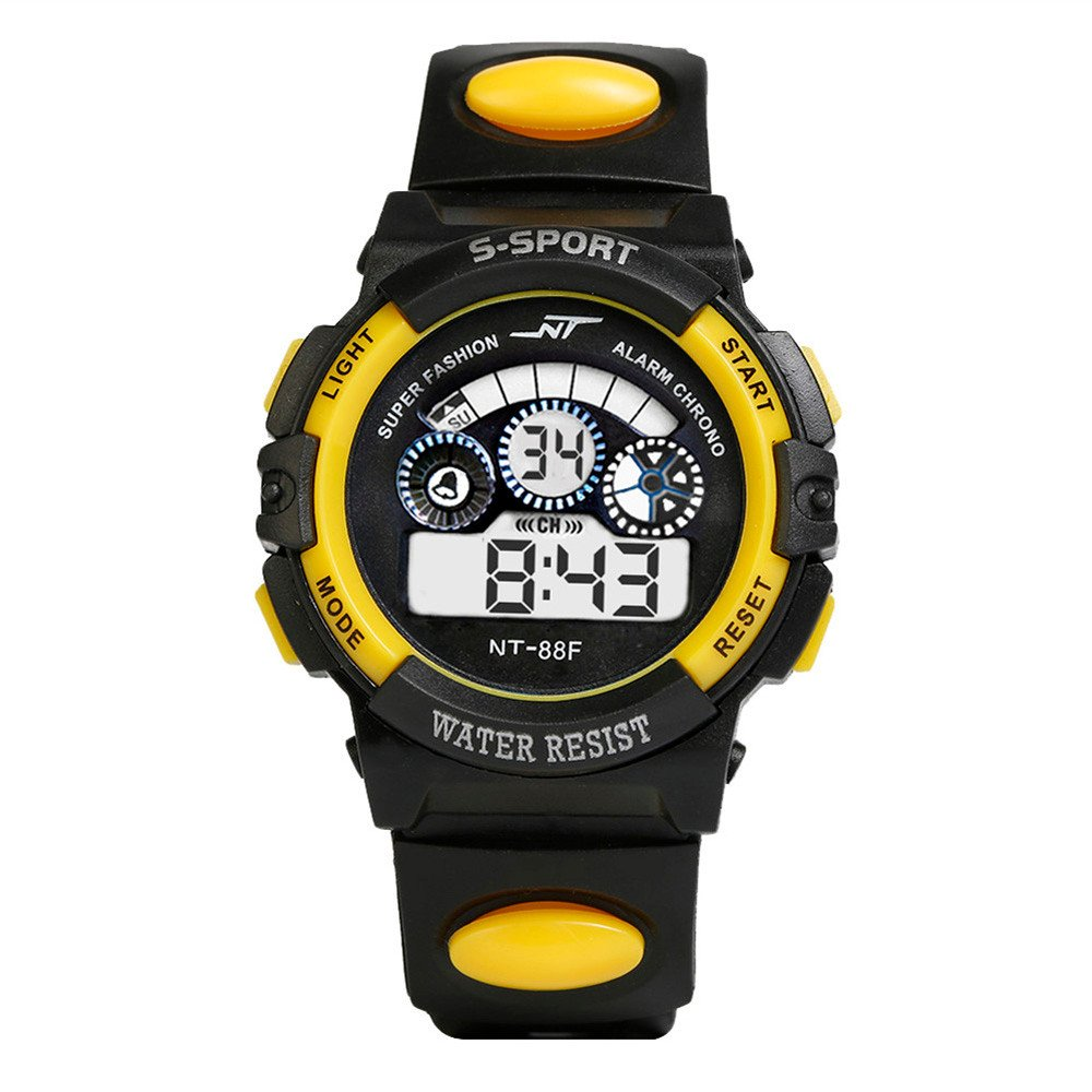 Watch Sports,BCDshop Boy's Multifunction Waterproof Digital LED Quartz Alarm Date Sports Wrist Watch Gift (Yellow, alloy)