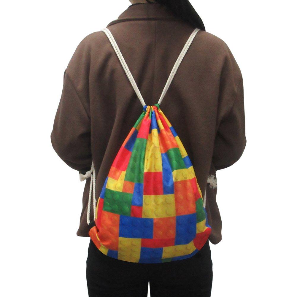 HUGS IDEA Peacock Pattern Drawstring Backpack Travel Casual Tote Bag Lightweight Bookbag