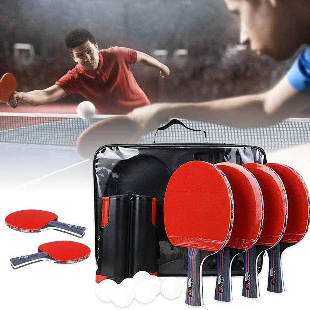 1 Einziehbares Netz Tischtennis 4 Tischtennisschl/äger Schl/äger Mit 8 Tischtennisb/ällen HJX888 Tischtennisschlaeger Set