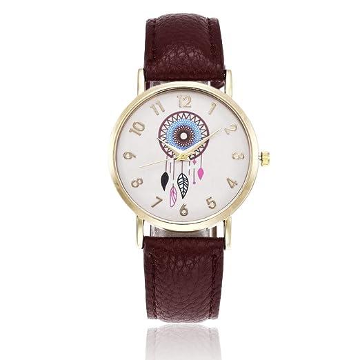 Moda Relojes para Mujer Niña - Correa de Cuero PU Dreamcatcher Atrapasueños Relojes de Pulsera para Señoras, Marrón Oscuro: Amazon.es: Relojes
