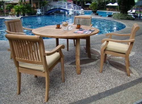 New 5 Pc Luxurious Grade-A Teak Dining Set – 48 Round Table and 4 Stacking Arbor Arm Chairs WHDSAB3