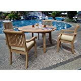 """New 5 Pc Luxurious Grade-A Teak Dining Set - 48"""" Round Table and 4 Stacking Arbor Arm Chairs #WHDSAB3"""
