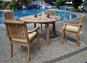 """New 5 Pc Luxurious Grade-A Teak Dining Set - 52"""" Round Table and 4 Stacking Arbor Arm Chairs #WHDSAB5"""