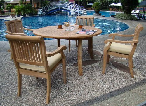 "New 5 Pc Luxurious Grade-A Teak Dining Set - 52"" Round Table and 4 Stacking Arbor Arm Chairs #WHDSAB5 - The chairs are stackable for easy storage. 52"" Round Table and includes umbrella hole in the center of table. ADD SUNBRELLA FABRIC CUSHIONS BY SEARCHING ASIN ""B01I4CC166"" or ""Wholesaleteak Dining Cushion"" ON AMAZON, CUSTOM MADE FOR THESE STYLE CHAIRS - patio-furniture, dining-sets-patio-funiture, patio - 61qdExDlAeL -"