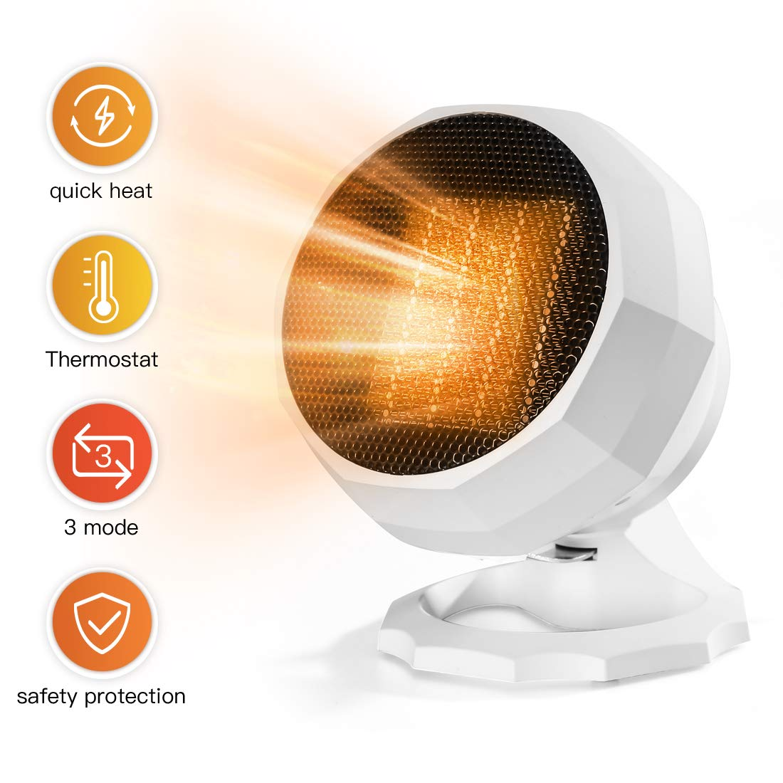 Space Heater,1800W Portable Ceramic Heater 3 Setting Mode Electric Heater Fan 90 Rotation Personal Heater With Thermostat Overheat Protection Air Conditioner For Home Bedroom Or Office