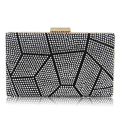 Yekajlin Clutches for Women Rhinestone Glitter Clutch Purse Evening Bag (Sil)
