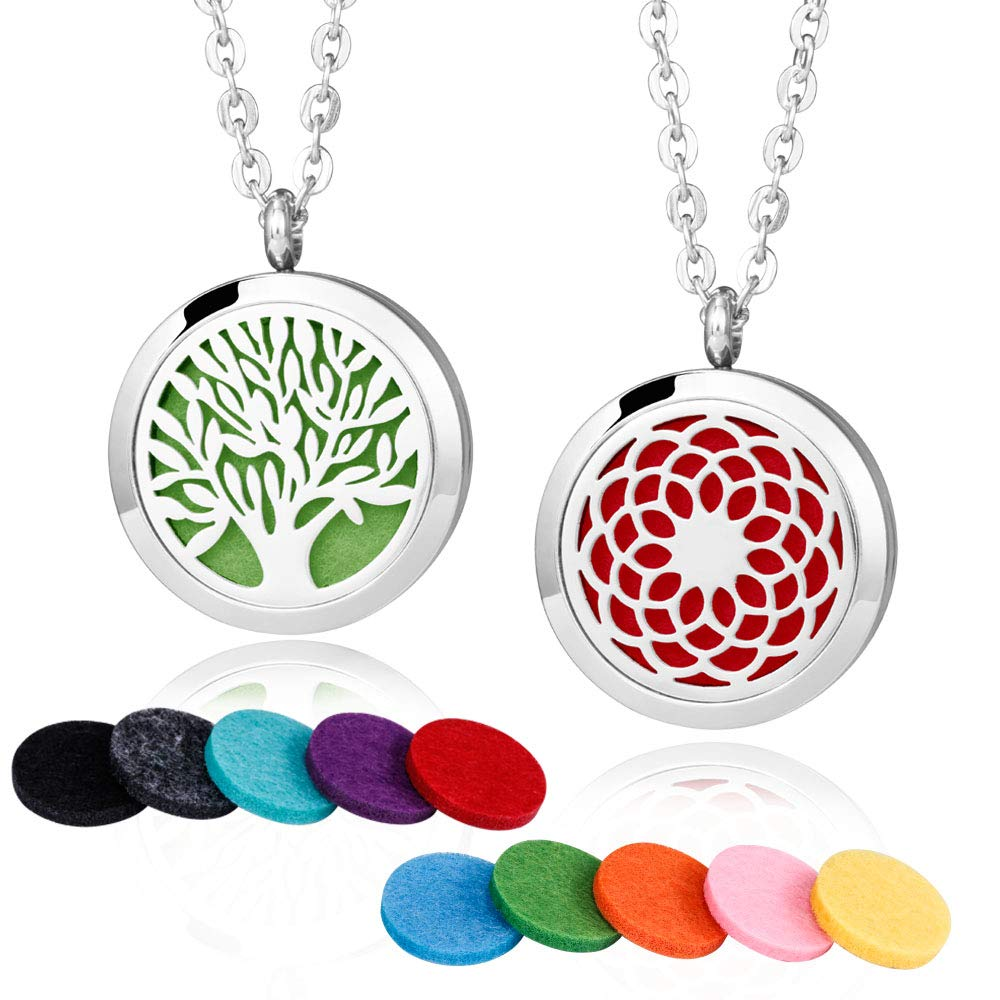 2 Pieces Fragrance Aromatherapy Essential Oil Prume Diffuser Necklace Locket Pendant Outfitters with 24 Inch Chain-Tree of Life & Sunflower Set