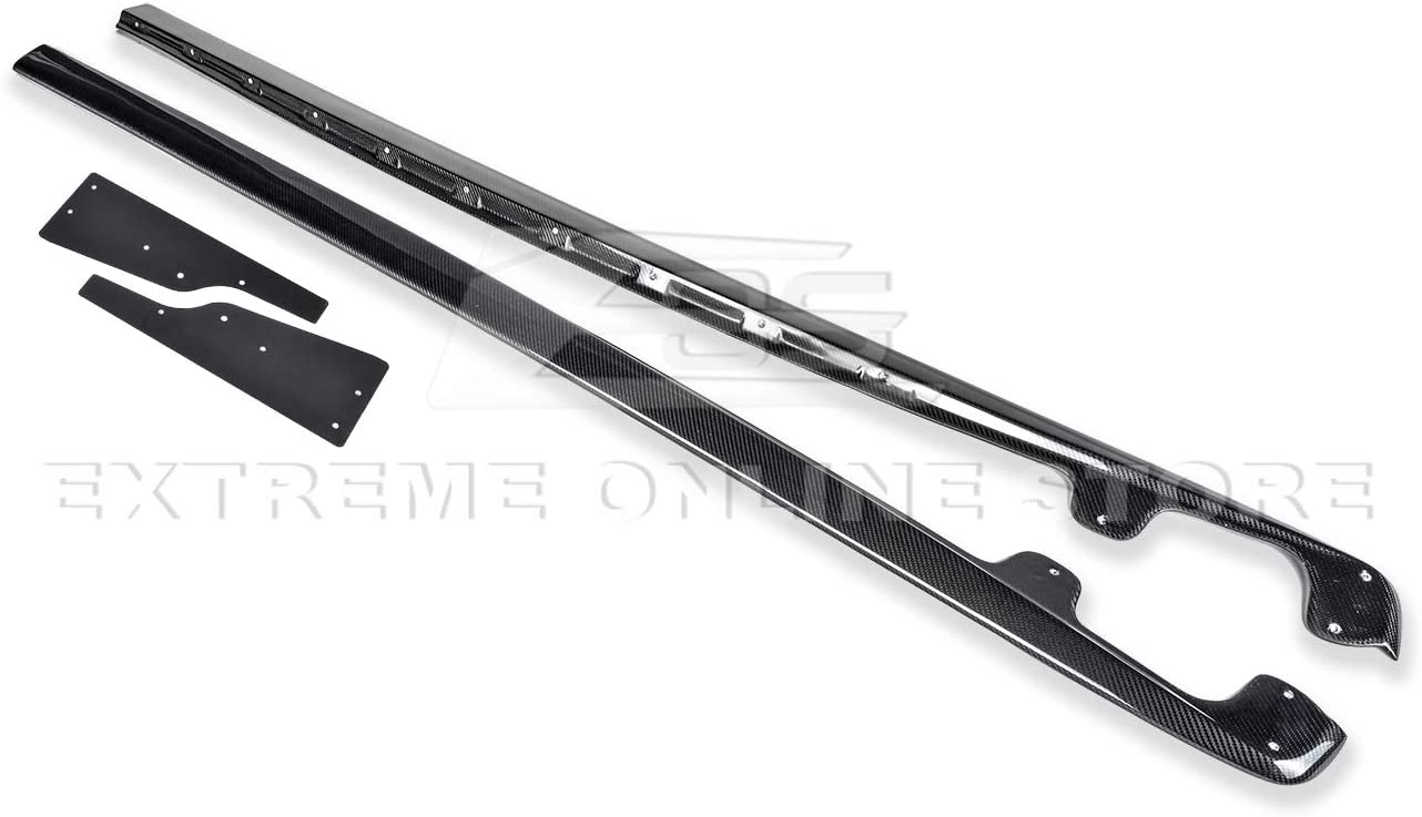 ZR1 Style Side Skirts Rocker Panels Extension with Mud Flaps Pair Carbon Fiber Extreme Online Store Replacement for 2005-2013 Chevrolet Corvette C6 Base Models