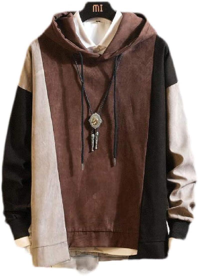 Fubotevic Mens Pullover Loose Fit Color Block Casual Long Sleeve Hooded Hoodie Sweatshirt Coffee US S
