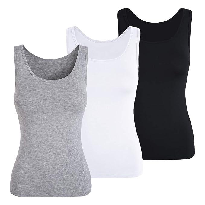 Women Camisole With Built In Shelf Bra Slim Sleeveless Tank Top Vest Scoop Neck