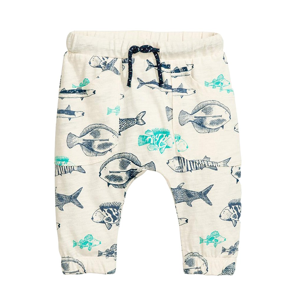 Toddler Boys Cotton Sweatpants Fish Pattern Elastic Pull On Active Jogger Pants Size 6T
