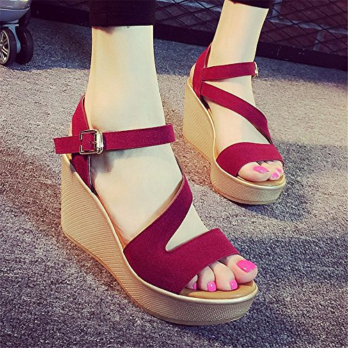 con toe casual donna antiscivolo estiva YMFIE comode sandali alla scarpe da open A e Zeppa moda zT0fqfwI