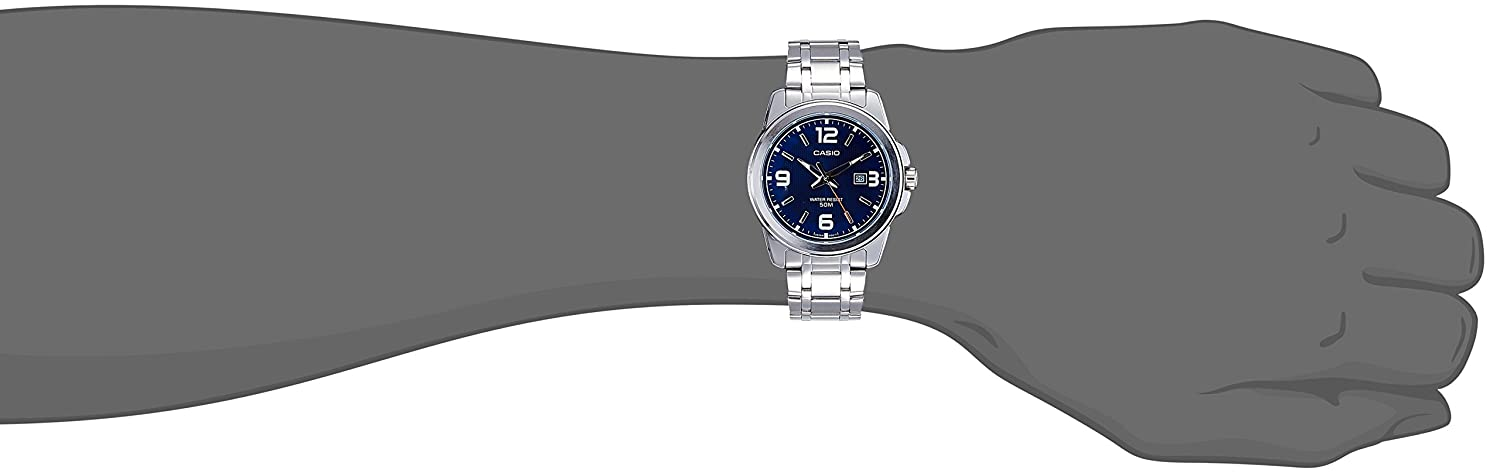 Amazon.com: Casio Mens MTP-1314D-2A Enticer Series Silver Band Blue Dial with Date Dress Watch: Casio: Watches