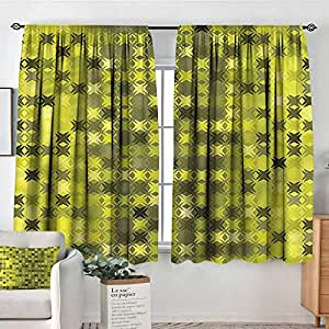 Amazon.com: Cortinas decorativas de color amarillo y verde ...