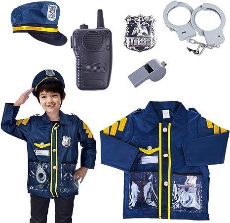 Yavso Policía Juguete - 6 Piezas Disfraz de Policía para Niño ...