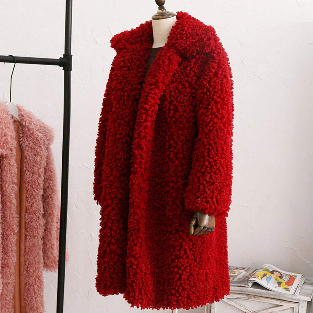 Women Winter wool Warm Thick Coat Solid Overcoat Faux Fur Jacket Cardigan