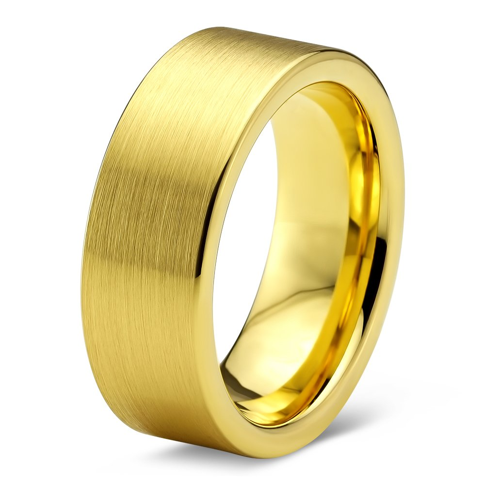 Tungsten Wedding Band Ring 8mm 6mm for Men Women Comfort Fit Yellow Gold Pipe Cut Polished Interior FREE Custom Laser Engraving Lifetime Guarantee