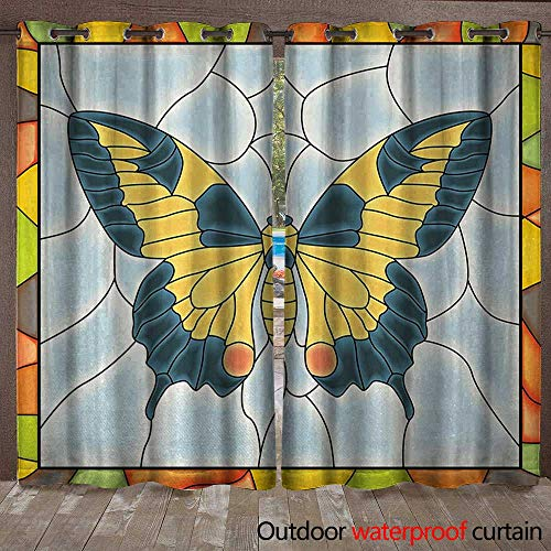 BlountDecor Butterflies Outdoor Curtain Panel for Patio Butterfly in Stained-Glass Window with Frame Wing Spring Garden IllustrationW108 x L108 Multicolor ()