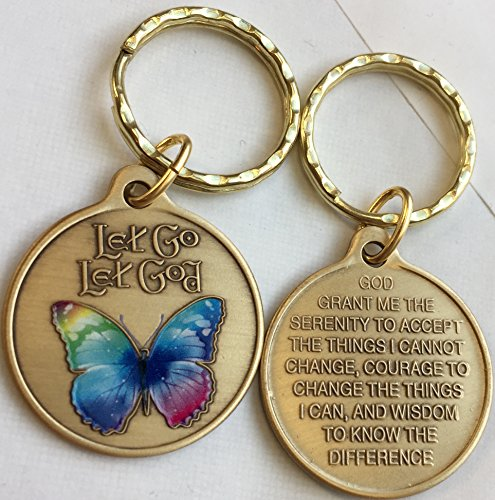 (Let Go Let God Color Butterfly Serenity Prayer Bronze Keychain)