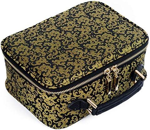 旅行化粧バッグ 女性化粧品美容バッグレトロ多機能浴室シャワーバッグ旅行便利な収納袋 アクセサリー用コスメバッグ (色 : Gold, Size : 23X16.5X9.5cm)