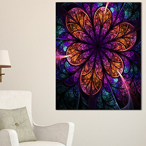 Dark Red & Purple Fractal Flower Modern floral canvas Wall