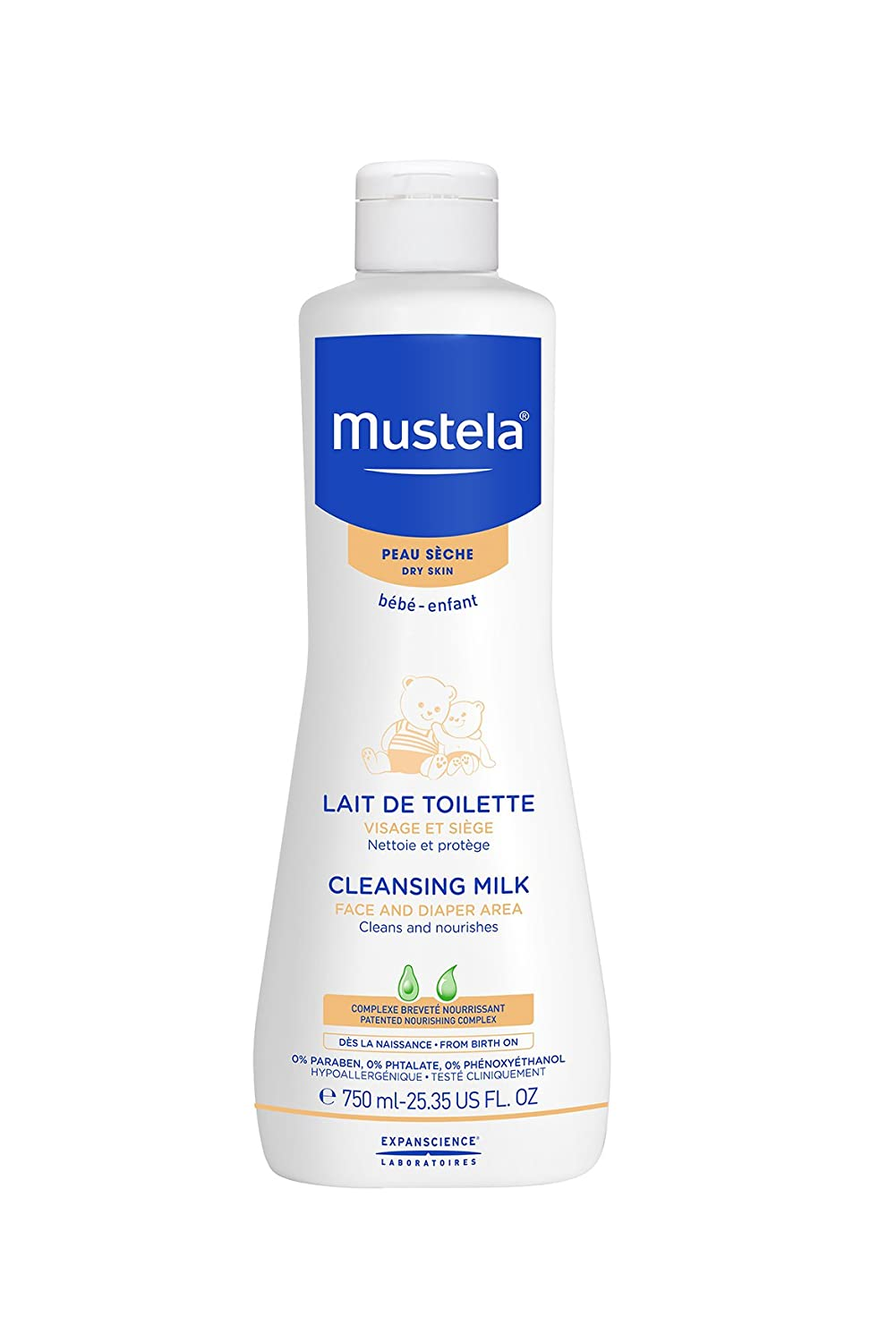 Mustela Face and Diaper Area Cleansing Milk 750ml EXPAN3504105028657
