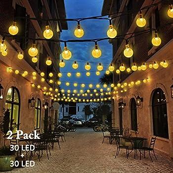 Vmanoo Christmas Solar Powered Globe Lights,30 LED (19.7 Feet) Globe Ball Fairy String Light for Outdoor, Xmas Tree, Garden, Patio, Home, Lawn, Holiday,Decor, Waterproof, 2-Pack (Warm White)