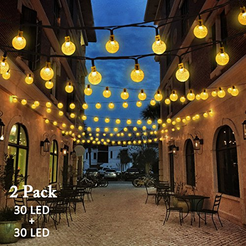 Home Holiday Decor (VMANOO Christmas Solar Powered Globe Lights,30 LED (19.7 Feet) Globe Ball Fairy String Light for Outdoor, Xmas Tree, Garden, Patio, Home, Lawn, Holiday,Decor, Waterproof, 2-Pack (Warm White))