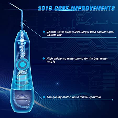 2019 Upgraded Cordless Water Flosser, Professional Portable Oral Irrigator Electric Dental Flosser, Waterproof with 7 Tips for Plague Braces Teeth Cleaner