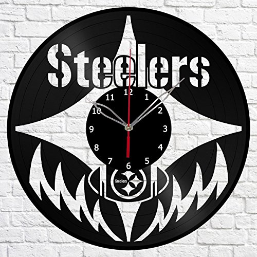 "Pittsburgh Steelers Vinyl Record Wall Clock Fan Art Handmade Decor Original Gift Unique Decorative Vinyl Clock 12"" (30 cm)"