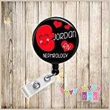 Kynnedy the Kidney - Personalized - Nephrology RN - Black - Button Badge Reel - Retractable ID Holder Alligator or Slide Clip - Dialysis - Organ Transplant