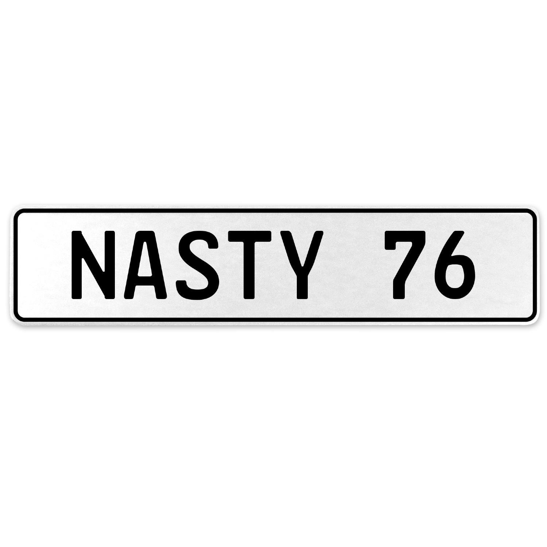 Vintage Parts 556950 Nasty 76 White Stamped Aluminum European License Plate