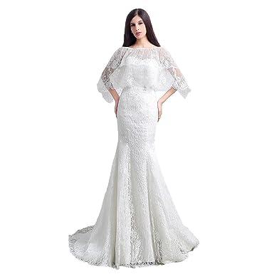 2f66b8f30ae lemondress Women s Sweetheart Sleeveless Lace Wedding Dress Evening Mermaid  Gown at Amazon Women s Clothing store