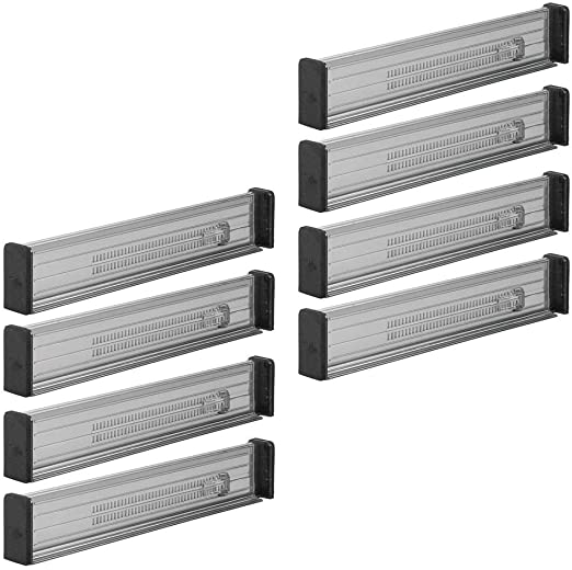 Expandable Drawer Organizer//Divider Strong Secure Hold Stone Locks in Place Foam Ends 8 Pack 2.5 Inches High Kitchen Storage Office mDesign Adjustable Closet Bathroom for Bedroom