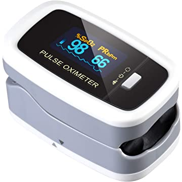 Pulse Oximeter Fingertip, ATMOKO Pulse Oximeter Finger Oximetry SPO2 Blood Oxygen Saturation Monitor Heart Rate Monitor Rotatable OLED Digital Display CE & FDA Approved with Batteries and Lanyard