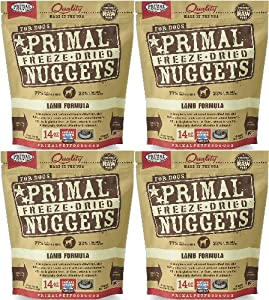 Primal Freeze-Dried Nuggets Lamb Formula for Dogs 56oz (4 x 14oz)