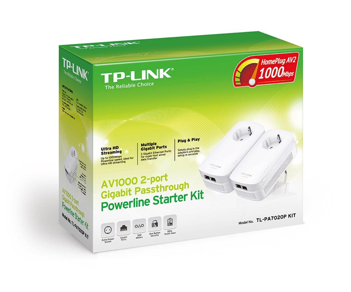 TP-Link TL-PA7020PKIT 1000 Mbps Pack de 2 Adaptateurs CPL 2 Ports Ethernet Gigabit, Prise Int/égr/ée