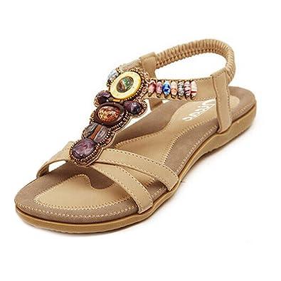 4166d070ac9 Zicac Women s Bohemia Sandals Beaded Flats Shoes (10