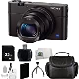 Sony Cyber-shot DSC-RX100 III Digital Camera + 32GB Bundle 9PC Accessory Kit. Includes: 32GB Memory Card + Extended Life Replacement Battery + Flexible Gripster Tripod + More