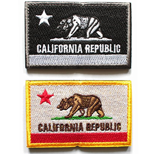 2pcs Bundle -California Flag Patch Republic State Tactical Bear Patches Decorative Morale Embroidered Appliques (Full Color Black) (Bear Flag Patch)