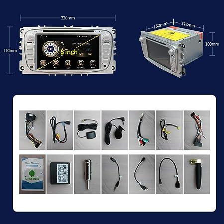 Radio estéreo para coche en el tablero de navegación para Ford Focus S-MAX Mondeo C-MAX Galaxy, pantalla táctil HD de 7 pulgadas Android 9.0 reproductor de DVD de doble DIN Bluetooth con